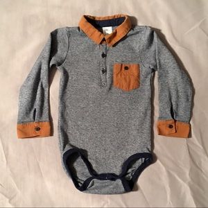 H&M Long-Sleeve Navy Blue Collared Bodysuit